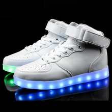 Men tenis Led Simulation Luminous Basket Glow bambas High Top Trainer Neon Tall Shoe with Light up for Adult Male Feminino