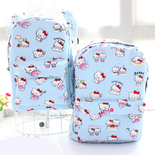New Hello Kitty Sac Soft Canvas Cartoon Bag Primary Secondary Student Girls Backpack Korean Anime Storage Laptop Bag mochila(China)