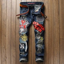 Newsosoo brand name ripped hole men jeans fashion Italy style patch Beaded Owl funny mask straight jeans uomo