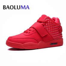 New Fashion Autumn Early Winter Men Casual Shoes Lover Red Faux Suede Men Lady High-top Low Shoes Breathable Bootss Red Botas(China)