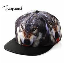 [TIMESWOOD]New Creative 3D Wolf Baseball Caps Animal Print Adjustable Men Women Fashion HipHop Hats Fashion Hip Hop Snapback Cap