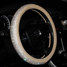 Luxury Crystal Car Steering Wheel Cover for Women Girls Leather Rhinestone covered Steering-Wheel Covers Interior Accessories(China)