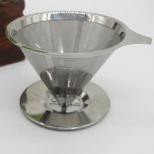 Home Stainless Steel Pour Over Cone Coffee Dripper Mesh Filter Paperless Kitchen Coffee Shop Brewing Tool E2S(China)