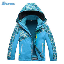 Dropshipping 120-150 cm double layer children 2 in1 coat boys girls sports winter waterproof climbing snow outdoor jacket kids(China)