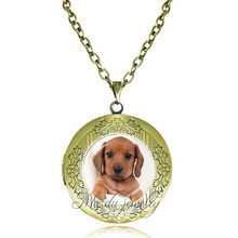 Dachshunds dog necklace glass dome pendant necklace art photo dog locket necklaces long sweater chain necklace animal lover gift