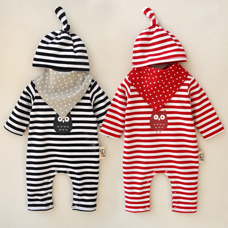 Autumn Winter Fashion Baby Boys Girls Clothing Sets Striped Long Sleeved Rompers + Bibs + Hat Cotton Baby Clothes Sets V49<br>