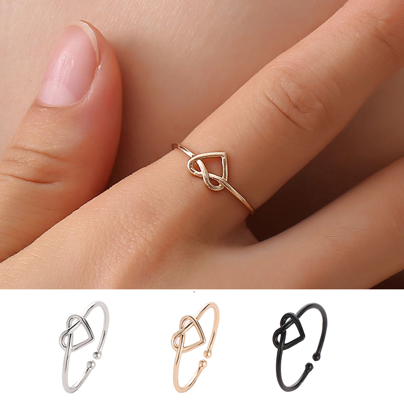 Heart-Rings Opening Knot Twisted Rose-Gold Minimalsit Girl Silver Black Korean Slim Women title=