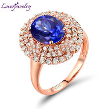 Genuine Blue Tanzanite Ring Real Diamonds In Solid 18K Rose Gold Anniversary Loving Jewelry For Sale(China)