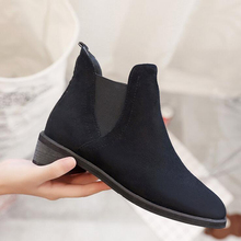 LELE Wholesale Women Fashion Chelsea Boots Spring Autumn Ankle Boot Suede Square Hell Ladies Shoes Short Boots Zapatos Mujer