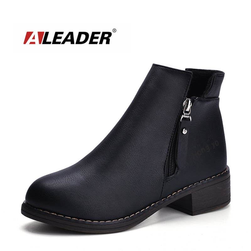 ALEADER 2017 New Casual Womens Boots High Slip On Ankle Boots Women Autumn Zipper Design Shoes Black Fahion Women Chelsea Boots<br>