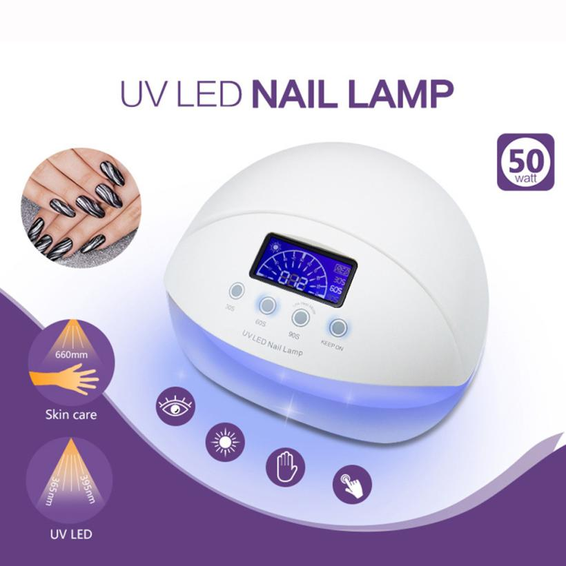 1PC 50W LED UV Nail Lamp Nail Dryer Automatic Sensor Nail Art Gel Polish Curing Machine US Plug 3 Timer Setting 5M1218<br>