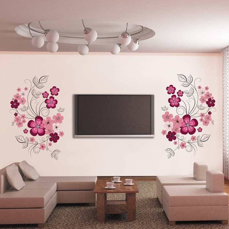 DIY Wall Art Decal Decoration Fashion Romantic Flower Wall Stickers Furnishings Home Decor 3D Wallpaper Mayitr