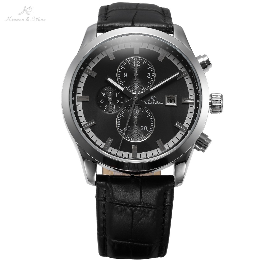 KS Imperial Series Auto Date Day Month Display Leather Band Relogio Automatic Mechanical Clock Casual Men Self Wind Watch /KS197<br>