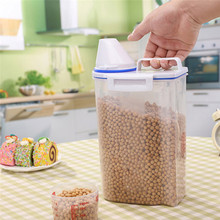 Food Storage Box 2L Plastic Cereal Dispenser Storage Box Kitchen Food Grain Rice Container Nice Portable Tool Wholesale R40