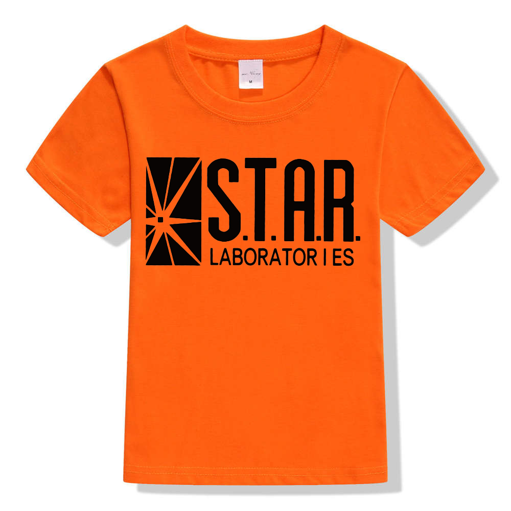 3-10Y Kids Black Star Lab Letter Print Short Sleeve T Shirt Boys Novelty T-shirt Girls Tshirt Clothes Anime Comics The Flash 10