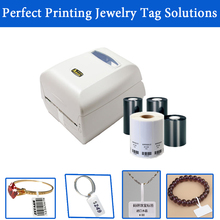 Perfect Jewelry tag printing solution 300DPI barcode printer machine with ribbon and jewerry tag free template of label size