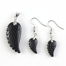UMY New Design Silver Plated Black Onyx Stone Wing of Angel Pendant Drop Earrings Fashion Jewelry Sets