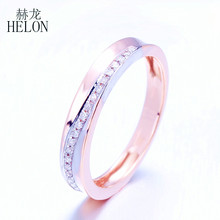 HELON Unbelievable!Pave Natural Diamond Ring Solid 10K Rose Gold Generous Band Anniversary Engagement Wedding Ring Women Jewelry(China)