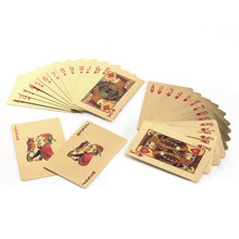 New Arrival Richly Plated in 24K Gold 54 Poker Playing Cards With Wooden Box Christmas Ideal Gifts for Card Lovers Friends(China)