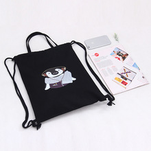 New Fashion Black Cartoon dog cat pattern storage Backpack Travel Drawstring Bag for Travel Shopping Backpacks