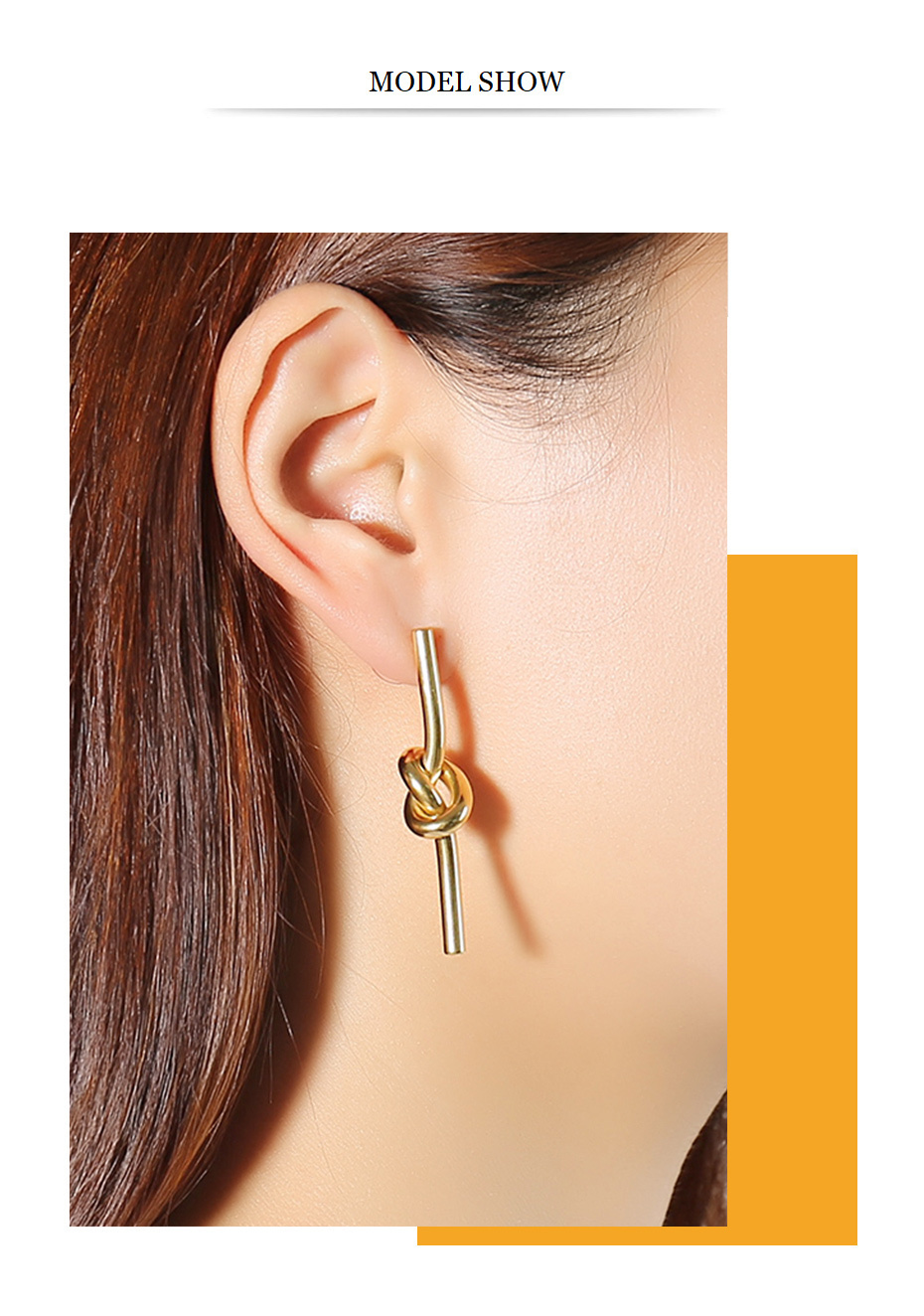Unique Knot Gold Tone Stainless Steel Dangle Earrings
