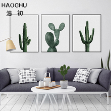 HAOCHU Nordic Tropical Plant Cactus Canvas Painting Minimalist Artwork Fresh Green Wall Pictures Home Restaurant Decoration