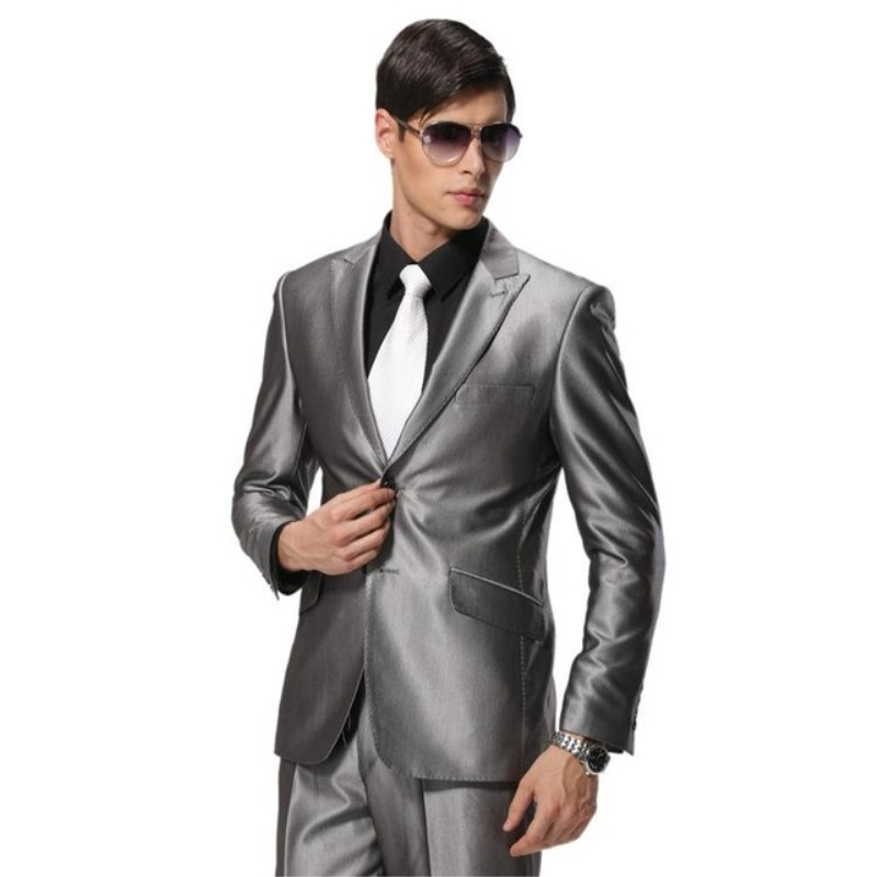 New Arrival Men Suits Slim Fit Custom FashionMade silver grey Bridegroon Business Dress Wedding Blazer tuxedos(Jacket+Pants+Tie)
