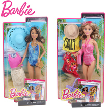 Original Barbie Doll Sunny Sandy Beach Swimsuit Wear 2 Styles Dress dolls Fashionista Girl Princess toys for children Gift(China)
