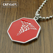 Punk 316L Stainless Steel Red color Enamel Hexagon Medical logo Alert Pendant (Include the Ball Chain For Free)(China)