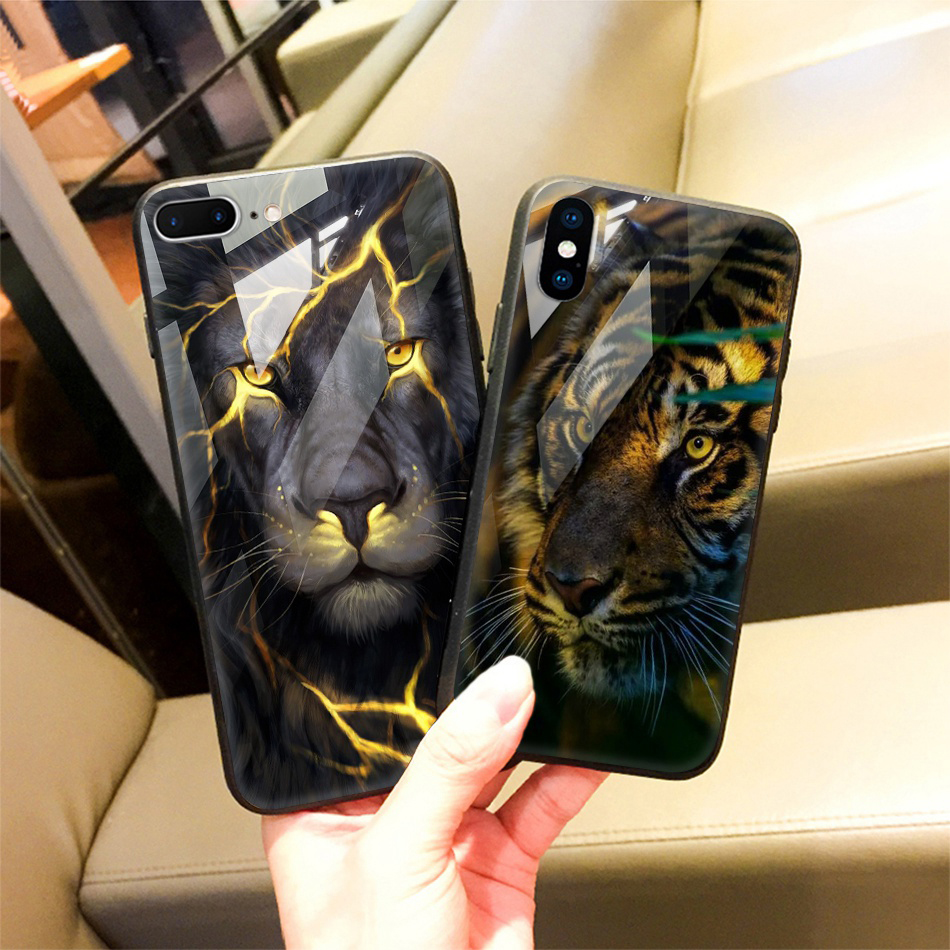 TOMKAS Animal Glass Case For iPhone X 8 7 10 6 Cover Phone Cases For iPhone X 7 8 6 6s Plus Case Luxury Cute TPU PC Covers Coque (24)