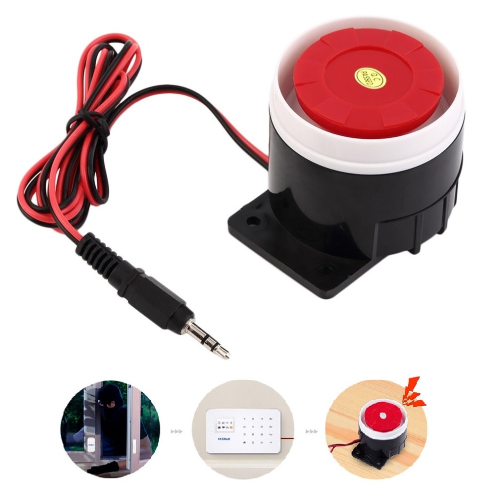 Super Loud 120dB Siren Red Wired Alarm System Speaker DC 12V Indoor Siren Durable Mini Horn Siren For Home Security Wholesale(China)