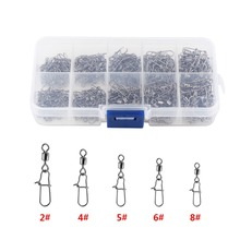 210pcs/ Set Stainless Steel Fishing Swivel Snap Rolling Swivel Connector hooked Snaps Pin Ball Bearing Fishhook Lure Tackle Kit(China)