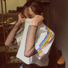new 2017 summer short-sleeve T-shirts for women harajuku rainbow prints female T-shirt o-neck Tops short design Women's t-shirt