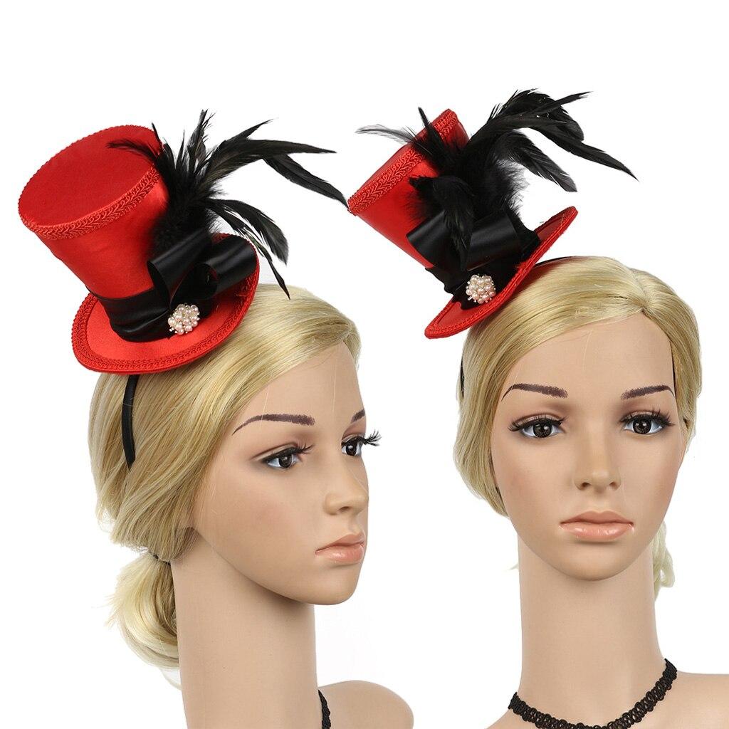 Glitter Show Girl Top Hat Mini Fascinator Burlesque Adults Fancy Dress