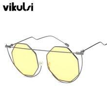 989849a170352b Mode Demi-Trame Océan Jaune Octagon lunettes de Soleil Femmes Marque  Designer Perle Nez Femmes
