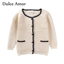 Dulce Amor Children Sweater Cardigan Baby Girl Clothes Spring Autumn Girls Casual Long Sleeve Crochet Knitted Blouse Tops(China)