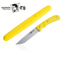 OldPaPa 8Cr15Mov New Style Serrated Fruit Knife Tomato Lemon Slicer Multifunctional Paring Portable Mini Peeling Knives Case(China)