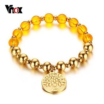 Vnox árvore da vida pulseira banhado a ouro contas de oração mala pulseiras envoltório para as mulheres