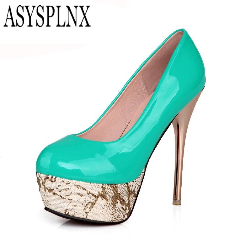 ASYSPLNX platform metal Thin high heels Round toe wedding dress women shoes,2017 Summer blue red elegant woman Pumps sexy<br><br>Aliexpress