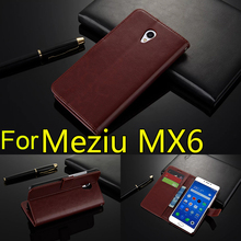 For Meizu MX6 Case 5.5 inch Flip Wallet Genuine Leather Cover For Meizu MX6 With Stand Function Three Card Holder Black Brown