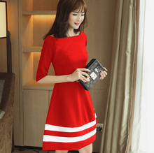 Buy Spring summer dress women clothing mid sleeve bodycon dress cute show thin women dress Fashion black red girl dress vestidos for $10.20 in AliExpress store