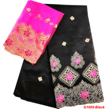 Lace-Fabrics George Wrappers Women Dress Embroider Nigerian Black Materal African High-Quality