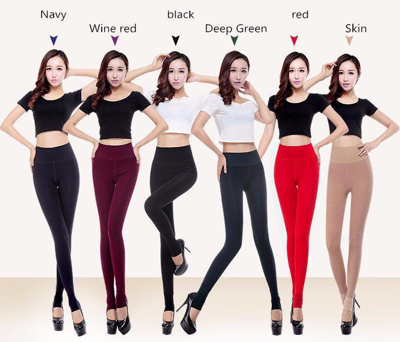 CHRLEISURE Women's Warm Velvet Leggings Autumn-Winter Big Size Candy Colors Thick Faux Knitted Thicken Slim Stretch Legging 8