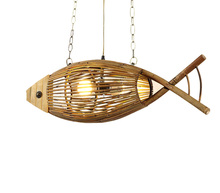 Wood Light Originality Fish Pendant Lamp Restaurant Cafe Bar Hanging Light Personality Bamboo Creative Hand Crafted Weaving(China)