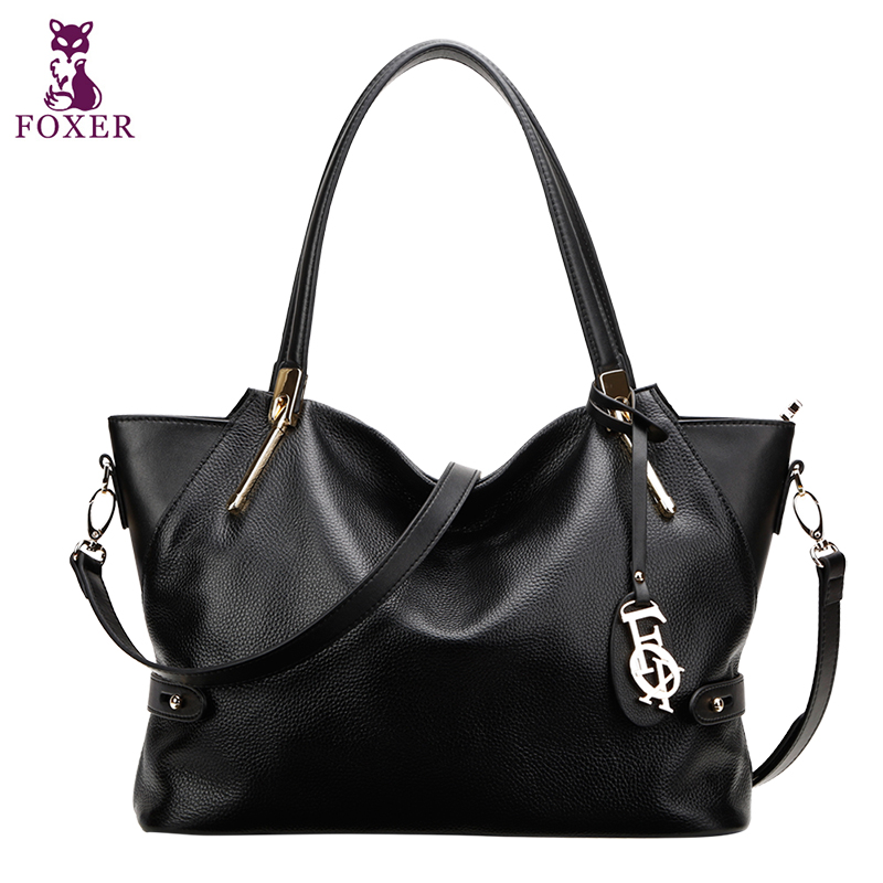 FOXER Brand Women big Genuine cowhide leather shoulder Bag solid womens handbag Female Tote<br><br>Aliexpress