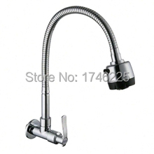 Free shipping kitchen faucet all copper single cold water faucet  kitchen tap rotating faucet 360 degree wall faucet