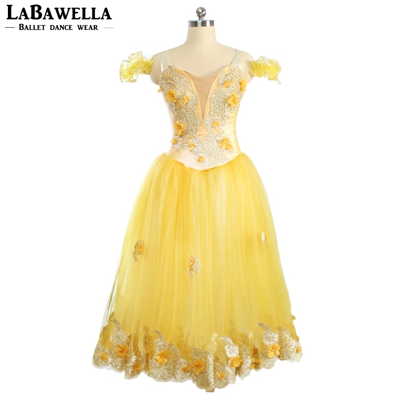 Women Romantic Sugar Plum Fairy Yellow Lyrical Ballet Tutu Long Dress Skirts BT9167Adult Professional Stage Ballerina Tutu Dress