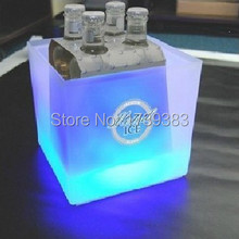Plastic Square LED Ice Bucket capacity 3.5L Double Layer Event Club Bars LED Beer Colorful Flash Light Pail ice cooler(China)