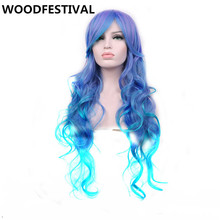 WoodFestival womens synthetic wigs heat resistant rainbow wig wavy long hair mixed color 70 cm real picture(China)