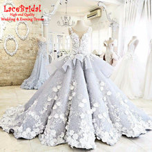 Luxury Grey and Ivory Ball Gown O Neck Flowers Beaded Lace Wedding Dress 2017 Bow Church Long Bridal Gowns vestido noiva TW183